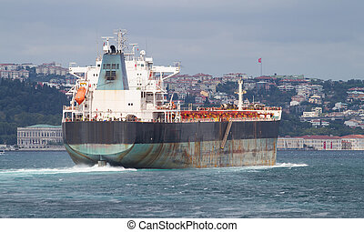 Cargo Ship is passing from Bosphorus Strait