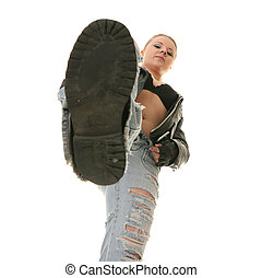 Rock Star Blond Woman - under her shoe , isolated on white...