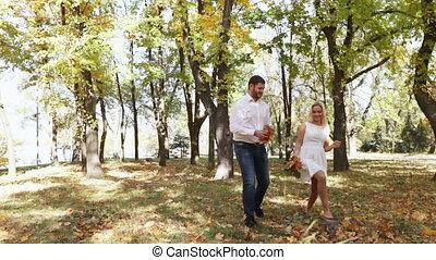 Couple on walk autumn park