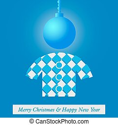 Christmas and New Years card with stylized figure in...