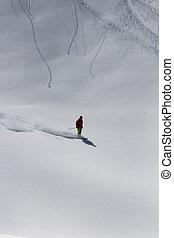 Skier in deep powder, extreme freeride - Skier in deep...