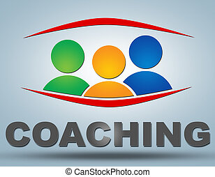 Coaching text illustration concept on grey background with...