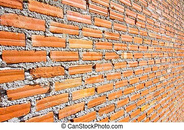 Brick wall with diminishing perspective.