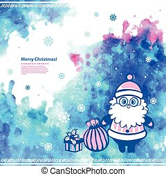 Watercolor vector Christmas  Santa illustration can be used as a