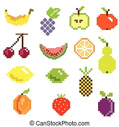 fruit - pixel art ifruit icons in color