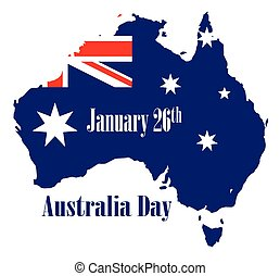 Happy Australia Day - Outline map of Australia over a white...