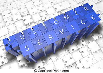 Customer Service - puzzle 3d render illustration with block...