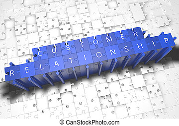 Customer Relationship - puzzle 3d render illustration with...