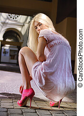 beautiful girl in pink shoes - blond beautiful girl in pink...