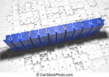 Outsourcing - puzzle 3d render illustration with block...
