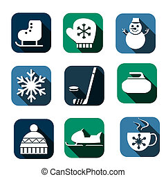 winter icons - flat winter sport icon set