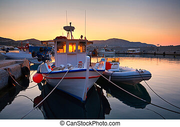 Crete. - Harbour in Makri Gialos village in southern Crete,...