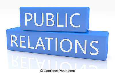 Public Relations - 3d render blue box with text Public...