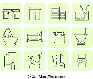 Real Estate icon set  - Real Estate and amenities icon set