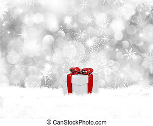 Christmas gift in snow - Decorative Christmas background...