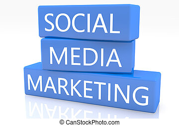 Social Media Marketing - 3d render blue box with text Social...