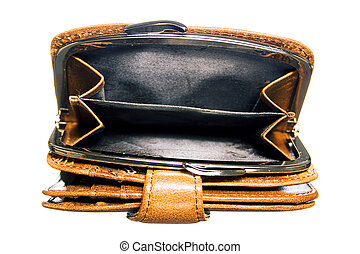 Empty purse isolated on white background.