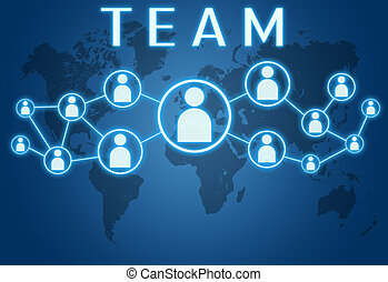 Team concept on blue background with world map and social...