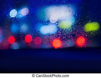 自動車, 雨, 光景, 夜