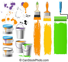 Buckets with paint - Renewal things - brushes, buckets and...