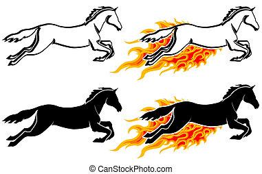 wyścigi, koń, sylwetka, płomień