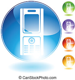 cell phone crystal web icon isolated on a white background.