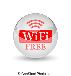 WIFI free icon Internet button on white background