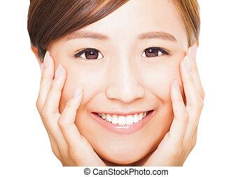 close up Beautiful  young woman face