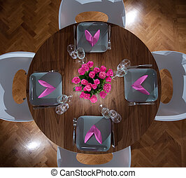 round table modern serving - Round table with four plates...