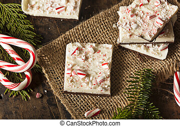 Homemade Holiday Peppermint Bark with White and Dark...