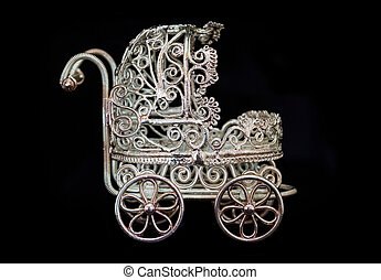 Baby Carriage - Antique toy baby carriage isolated