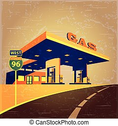 gas station on the road - vector illustration stylized as an...