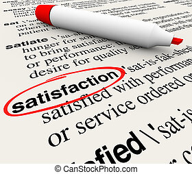 Satisfaction Dictionary Definition Circled Marker Happiness Plea