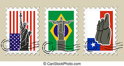 Three Postmarks with sights of America and stamps