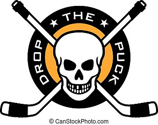 Hockey emblem with skull and crosse - Vector hockey emblem...