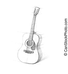 Sketch of guitars on a white background - Sketch of guitars...