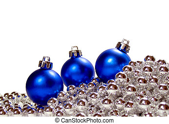 Blue Christmas - Pretty blue Christmas ornaments on a silver...
