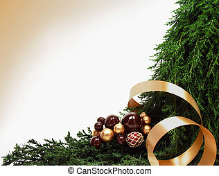 Bough - Christmas ornaments on a pine bough with gold