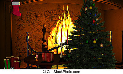 Christmas Tree with Gifts and Candles near Fireplace - A...