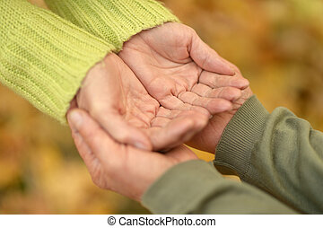 Holding hands - Elderly couple holding hands in autumn park