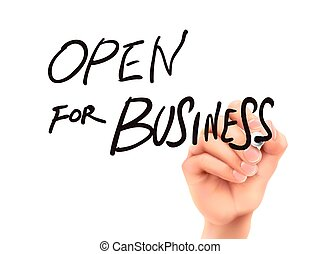 open for business words written by hand on a transparent...