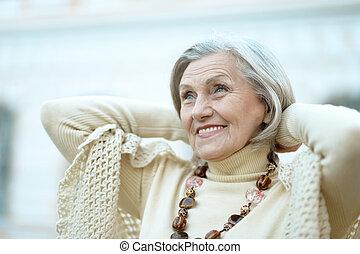 Senior woman outdoors