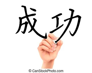 Chinese word for Success written by 3d hand