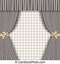 background with theatrical curtains in shades of gray -...
