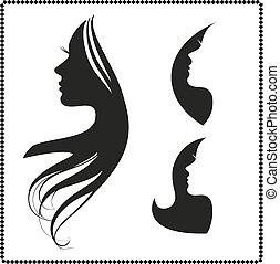 icon silhouette of a girl with long hair - vector set of...