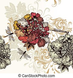 Floral seamless pattern with hand d - Vintage vector...