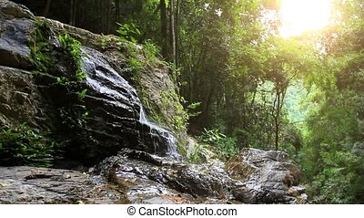Waterfall in deep forest on Koh Samui. HD. 1920x1080 -...