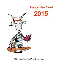 Christmas card - Hand-drawn fashion goat dressed in the...