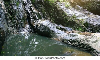 Waterfall in deep forest on Koh Samui Thailand0 - Waterfall...