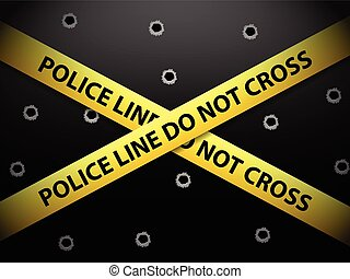 police line background - Yellow police line tape on a metal...